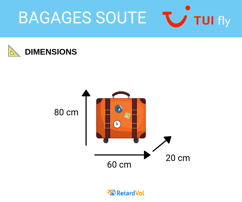 dimensions bagage soute Tui Fly